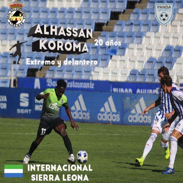 Koroma es actual jugador de la Real Balompédica Linense e internacional con Sierra Leona
