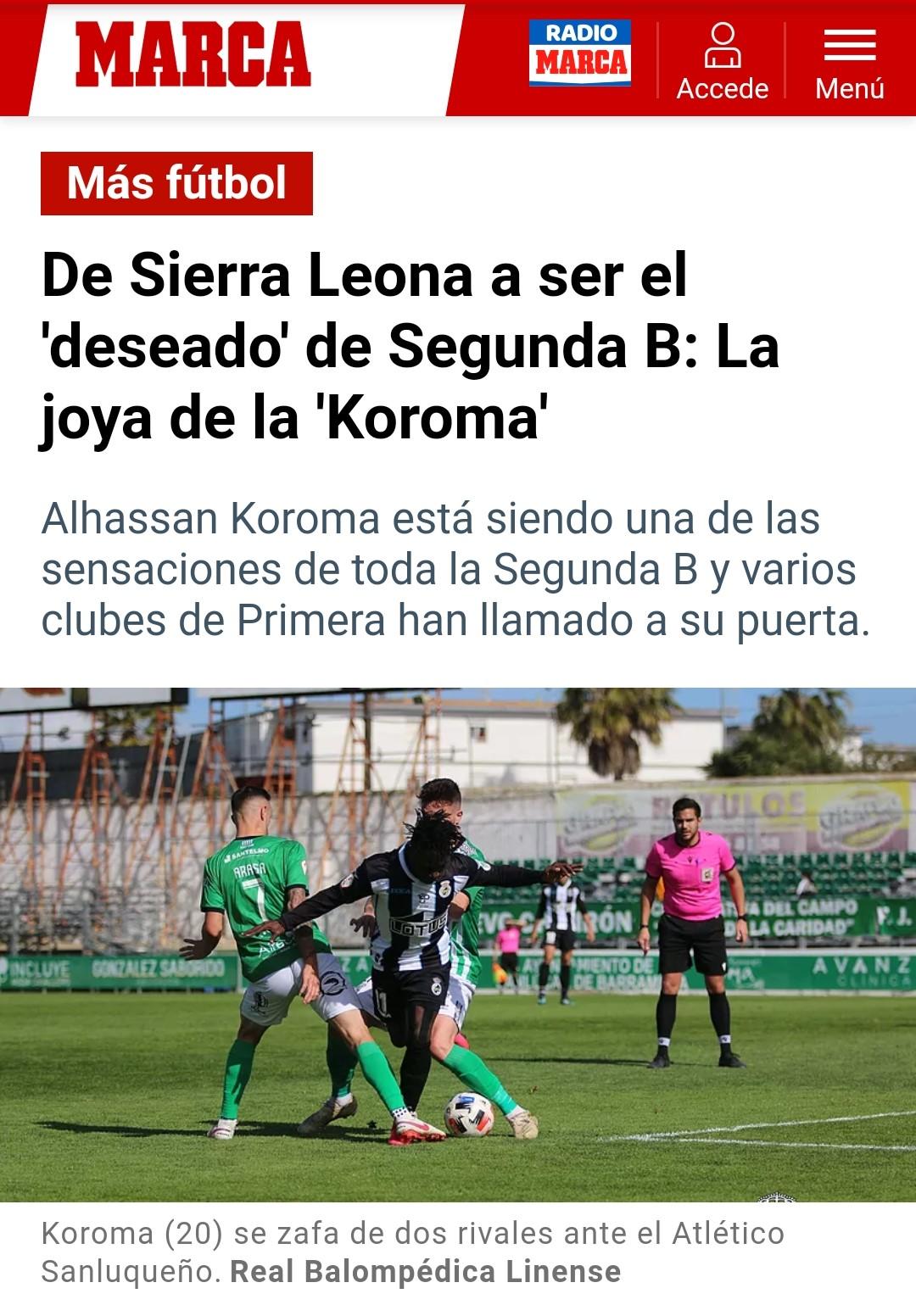La temporada de Alhassan Koroma no está pasando desapercibida por nadie, tanto que el periódico deportivo Marca la destaca.
