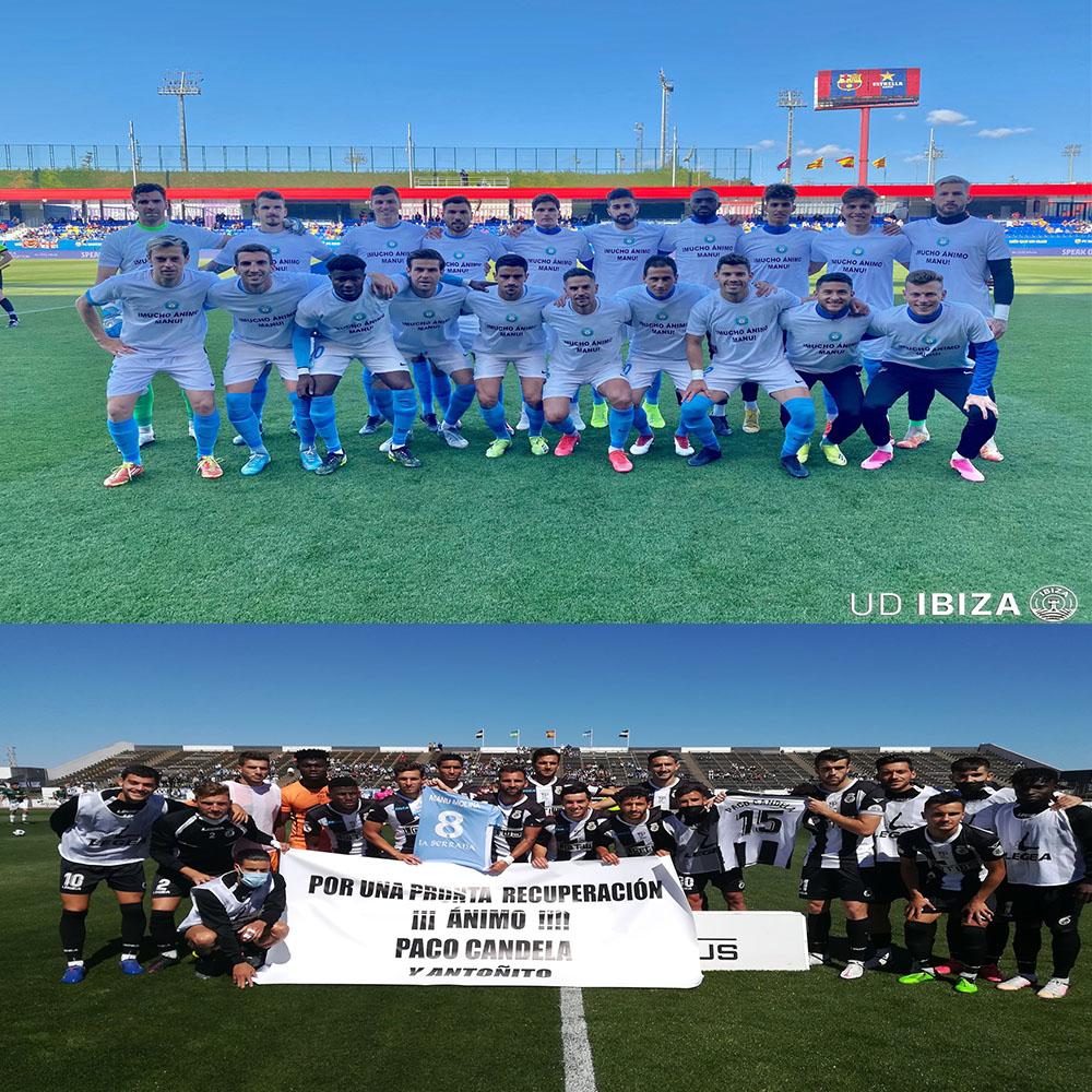 El fútbol se ha volcado en mandar todo el ánimo y la fuerza posible a Manu Molina. El Ibiza y la Balona salieron con camisetas de apoyo.