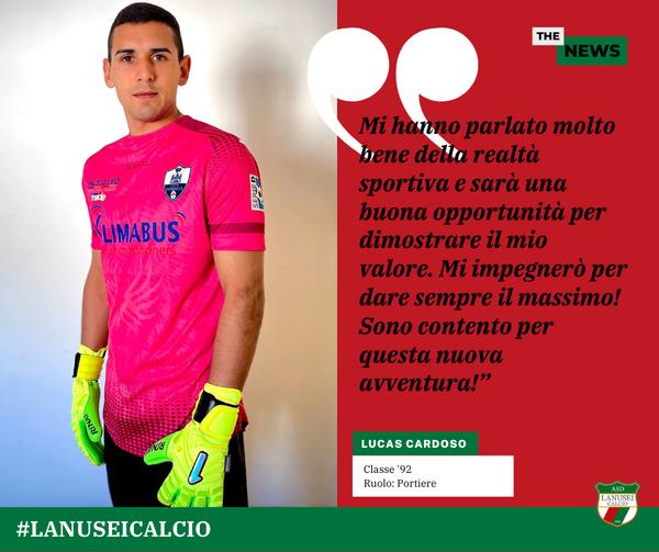 El guardameta argentino-italiano Lucas Cardoso jugará la próxima temporada en el ASD Lanusei Calcio y estará una nueva temporada en la Serie D